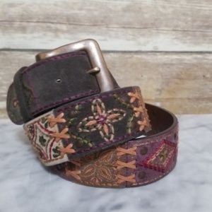 Fossil Embroidered Leather Studded Belt Large